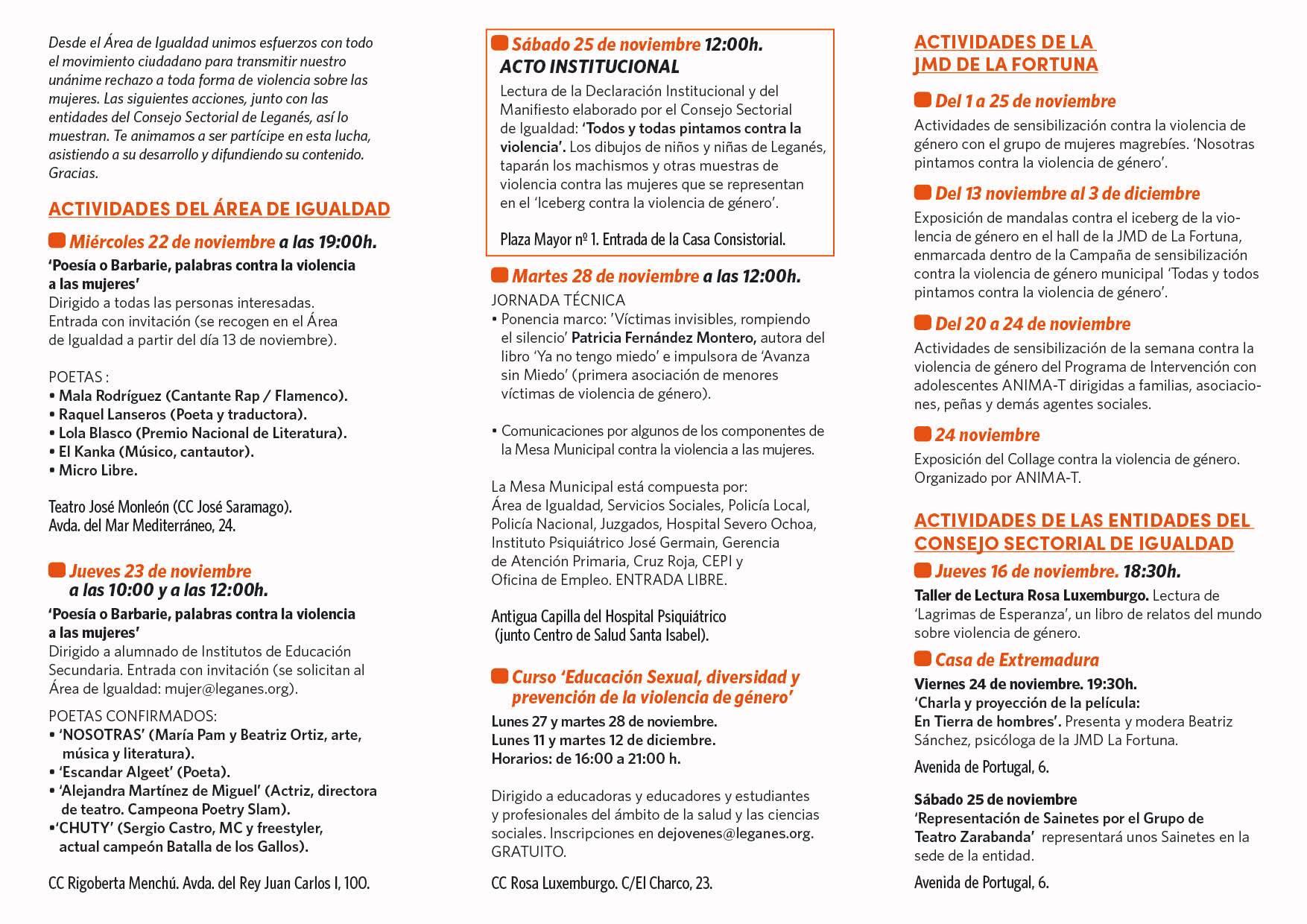 programa 2 Día Eliminación de la Violencia Contra la Mujer
