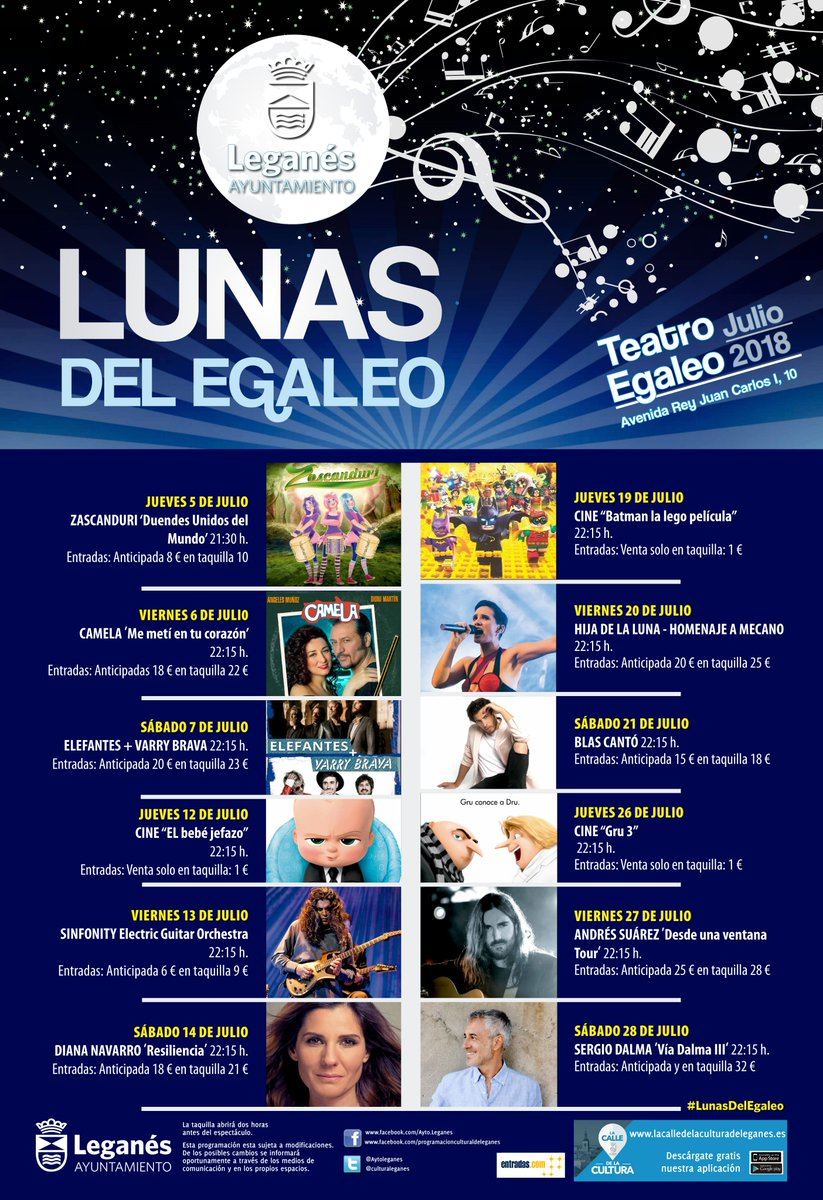 LUNAS DEL EGALEO 2018 programación completa