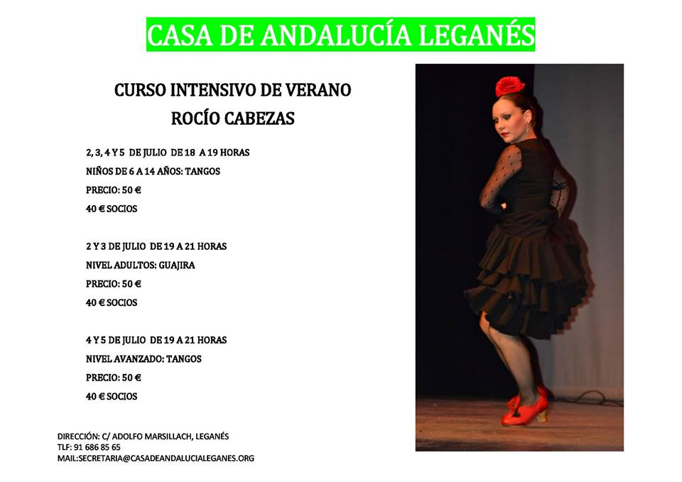 Curso Intensivo de Tangos y Guajira en la Casa de Andalucía de Leganés