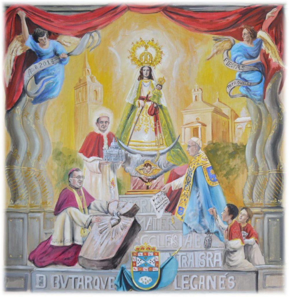 Cartel en honor a la Virgen de Butarque en las Fiestas Patronales de Leganés