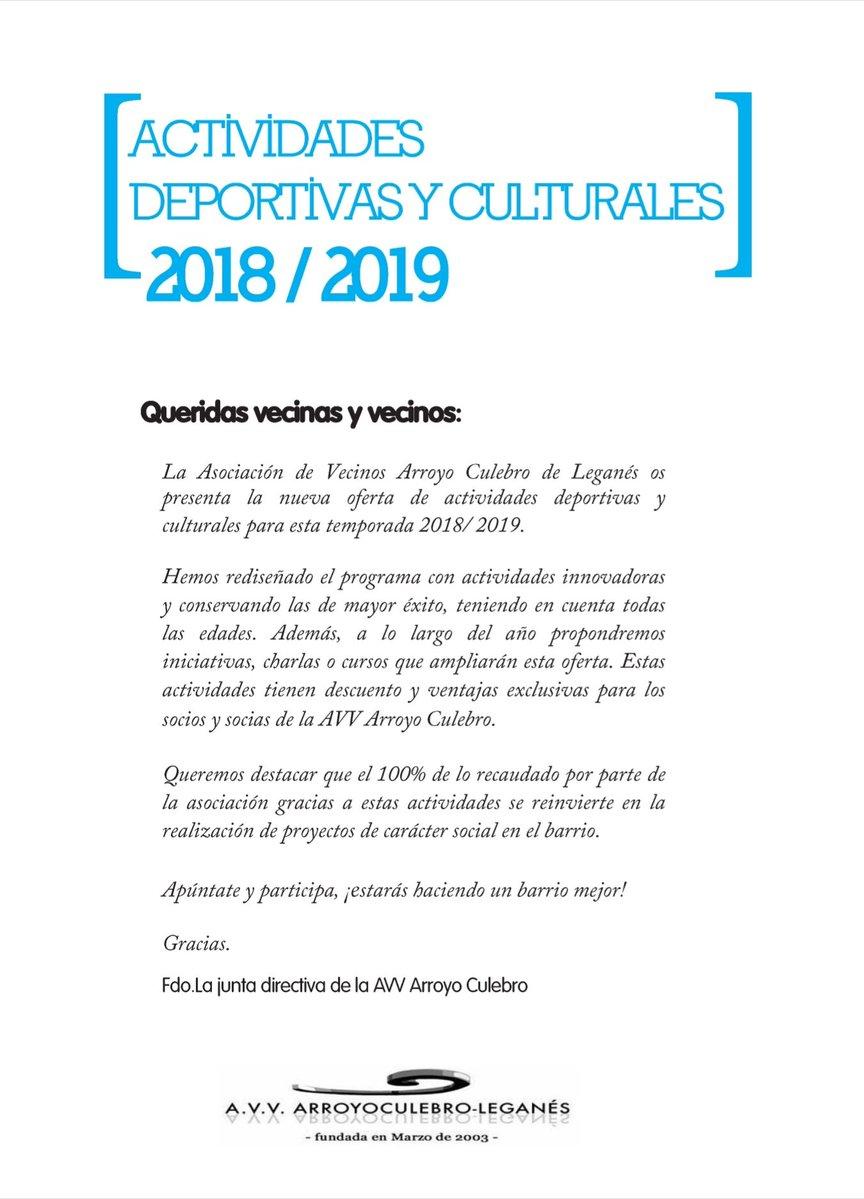 Actividades Deportivas y Culturales Arroyo Culebro 2018 2019