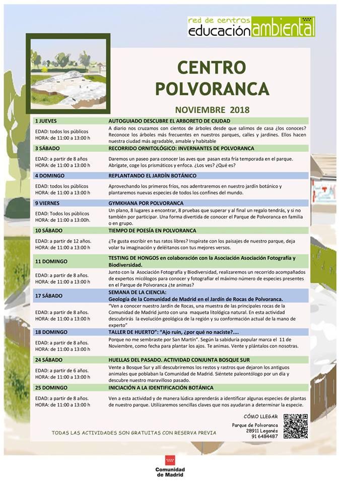 Actividades en el CEA Polvoranca en noviembre 2018