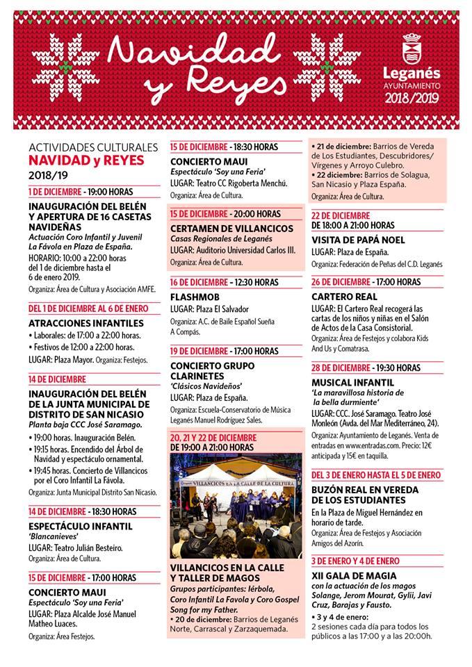 Programa de las fiestas de navidad 2018 en Leganés