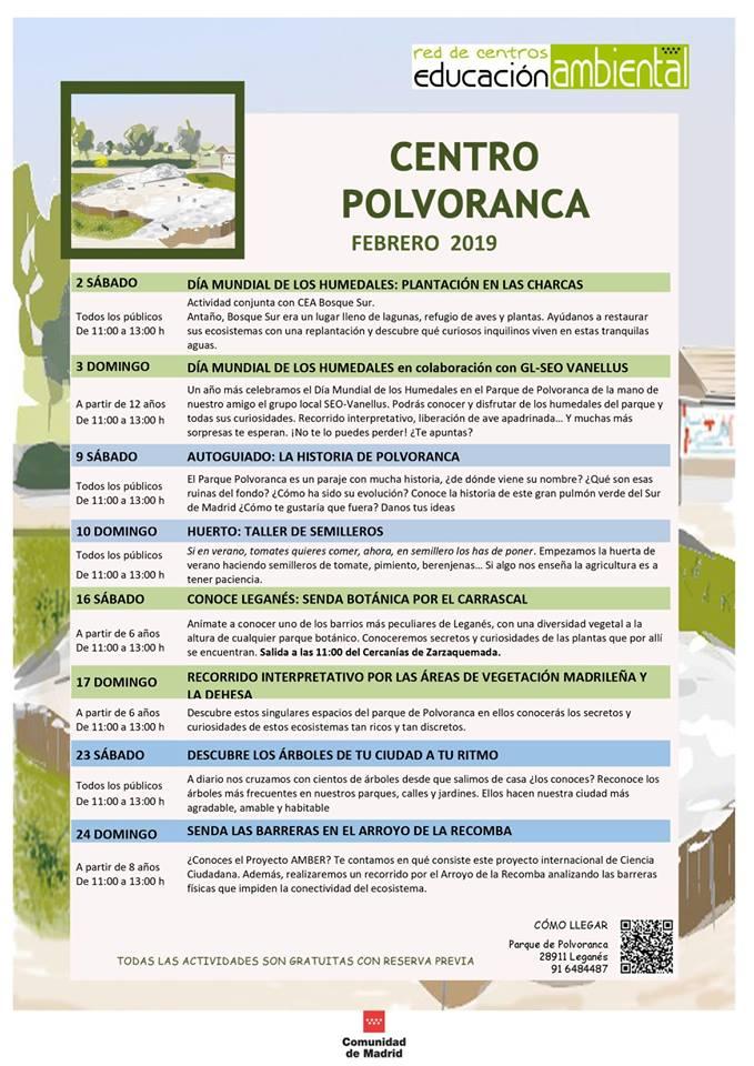 Actividades en el CEA Polvoranca en FEBRERO 2019