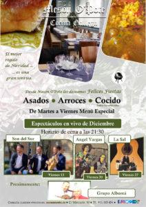 Cena y espectáculos en el Mesón O´pote en diciembre