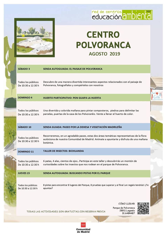 Actividades en el CEA Polvoranca en AGOSTO 2019