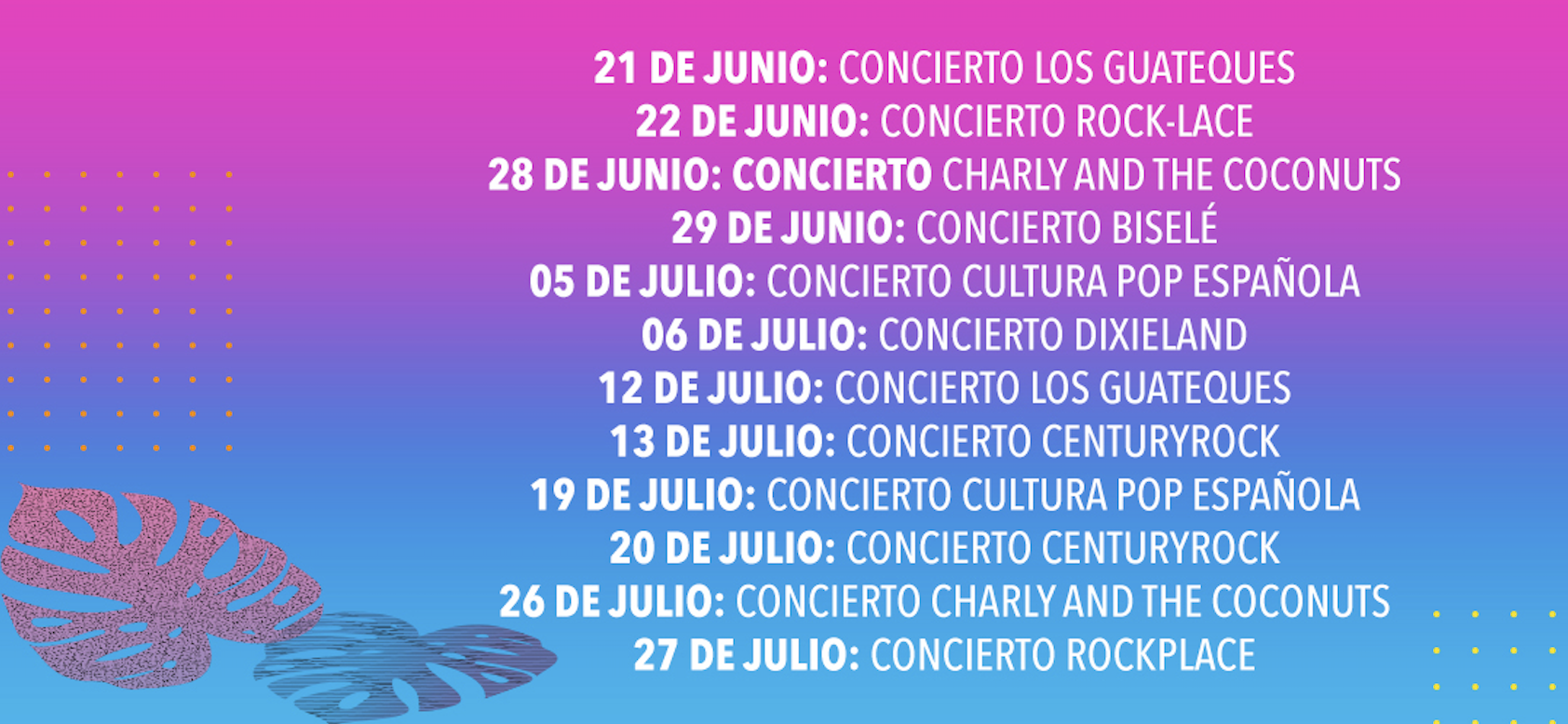Programa Veranos Sambil éxitos musicales de los 60, 70 y 80