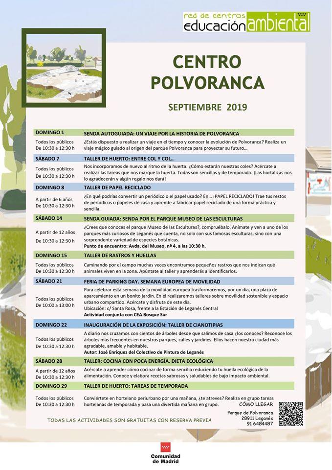 Actividades en el CEA Polvoranca en septiembre 2019