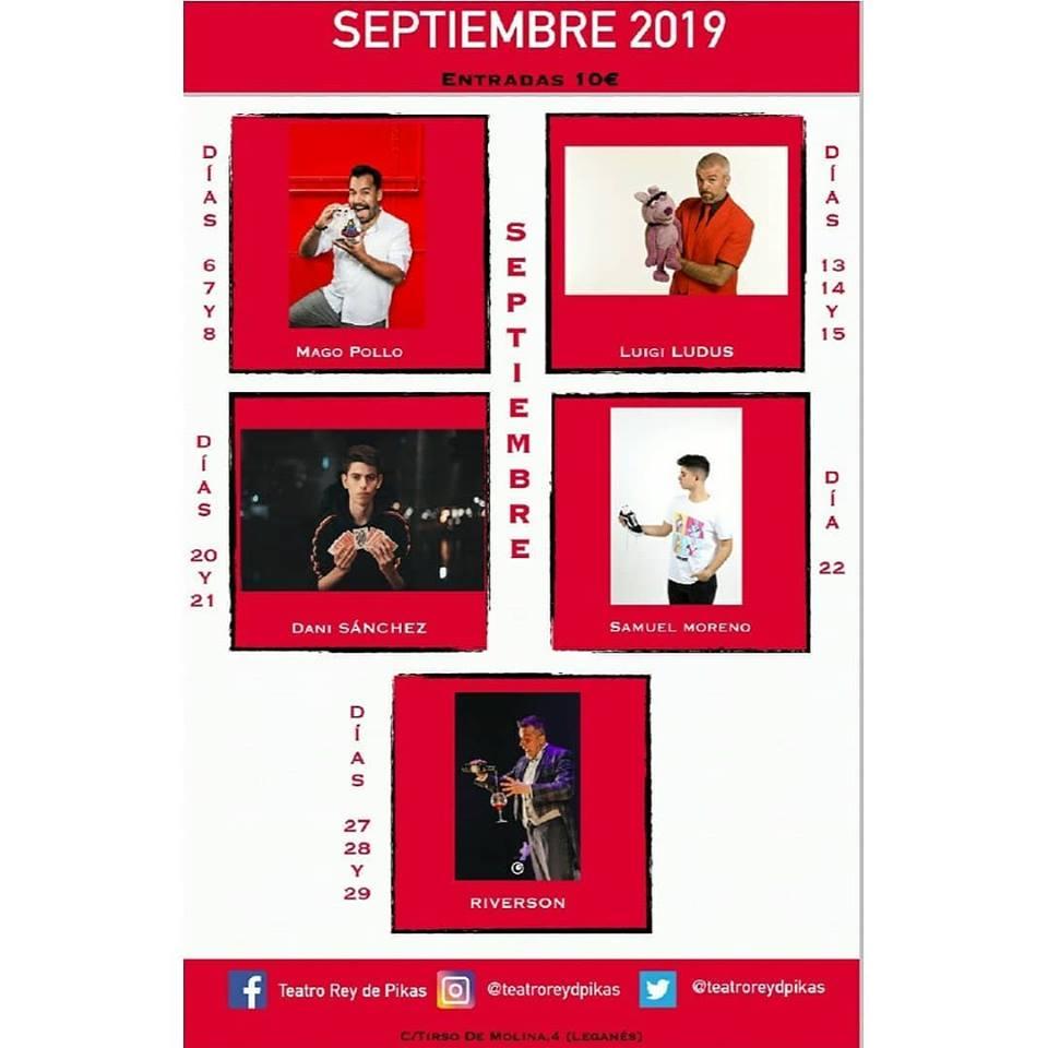 Programación eventos en septiembre en el Teatro Rey de Pikas