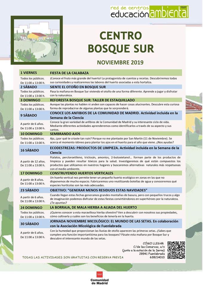 Actividades en el CEA Bosque Sur en noviembre 2019
