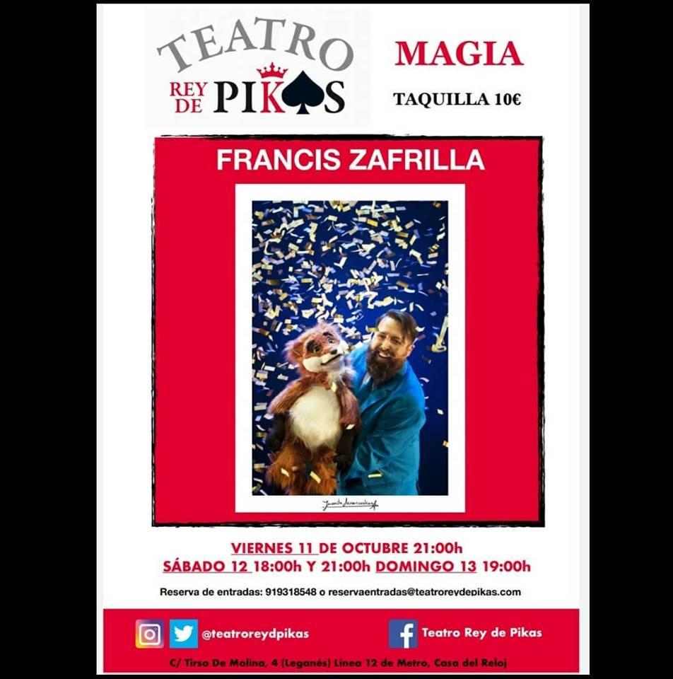 Francis Zafrilla el mago especialista en magia infantil en el Teatro Rey de Pikas