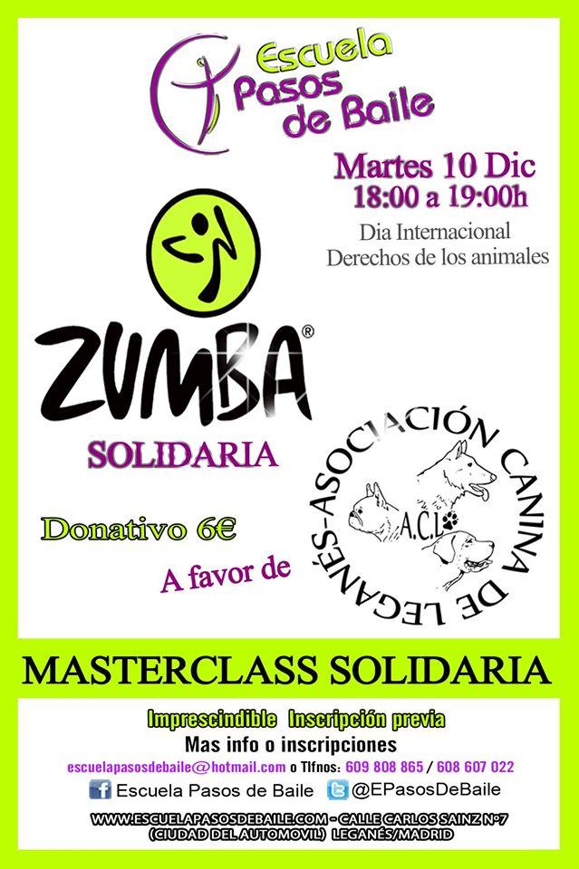 Masterclass solidaria de zumba en Escuela Pasos de baile