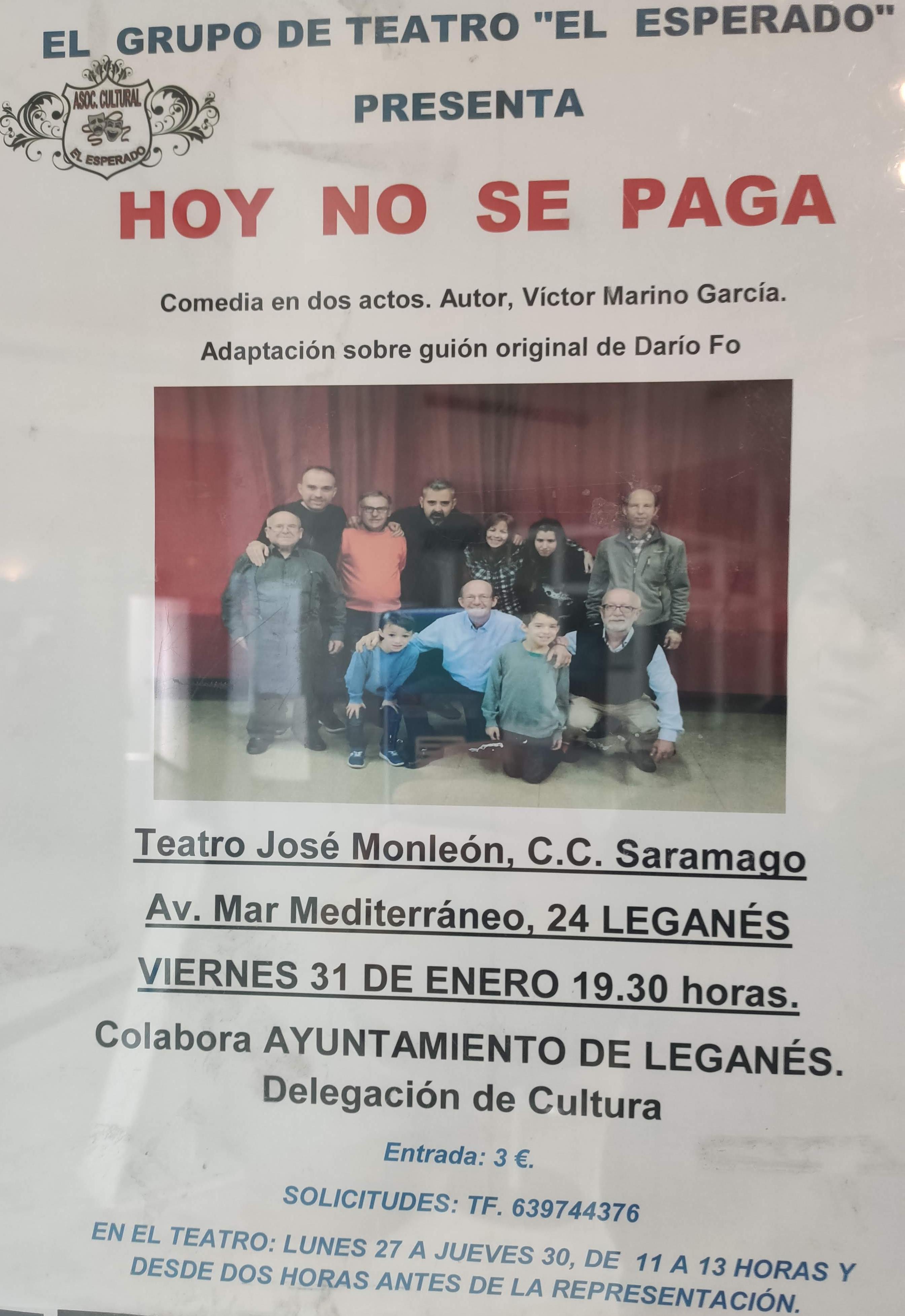 """Grupo de teatro El Esperado presenta """"Hoy no se paga"""""""