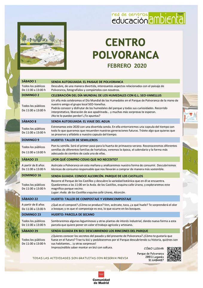 Programación en febrero 2020 en el CEA Polvoranca y en Bosque Sur