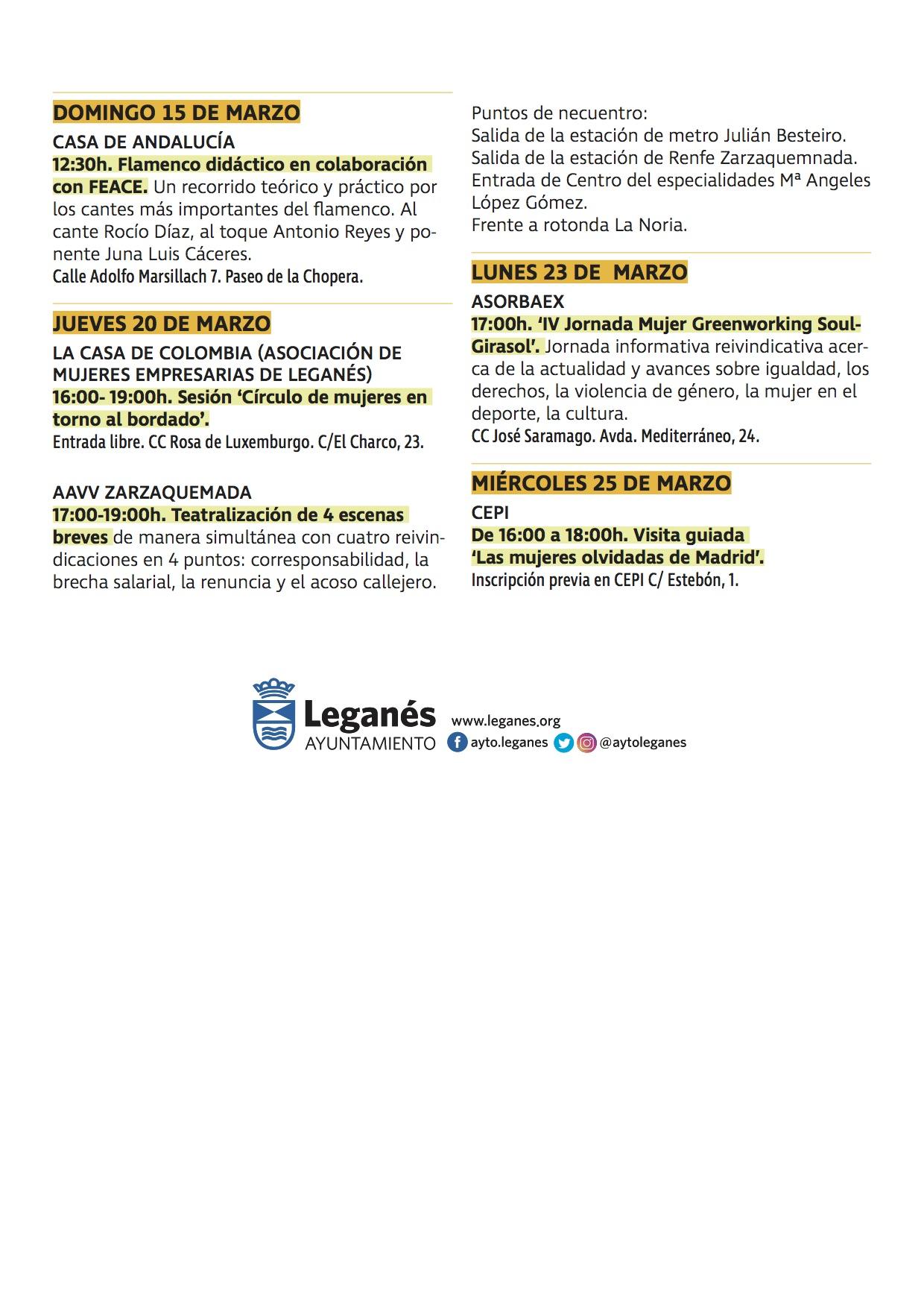 Programación completa del 8 de marzo Leganés