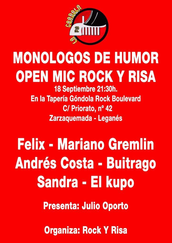 Open Mic Rock Y Risa en la Taperia Góndola Rock Boulevard