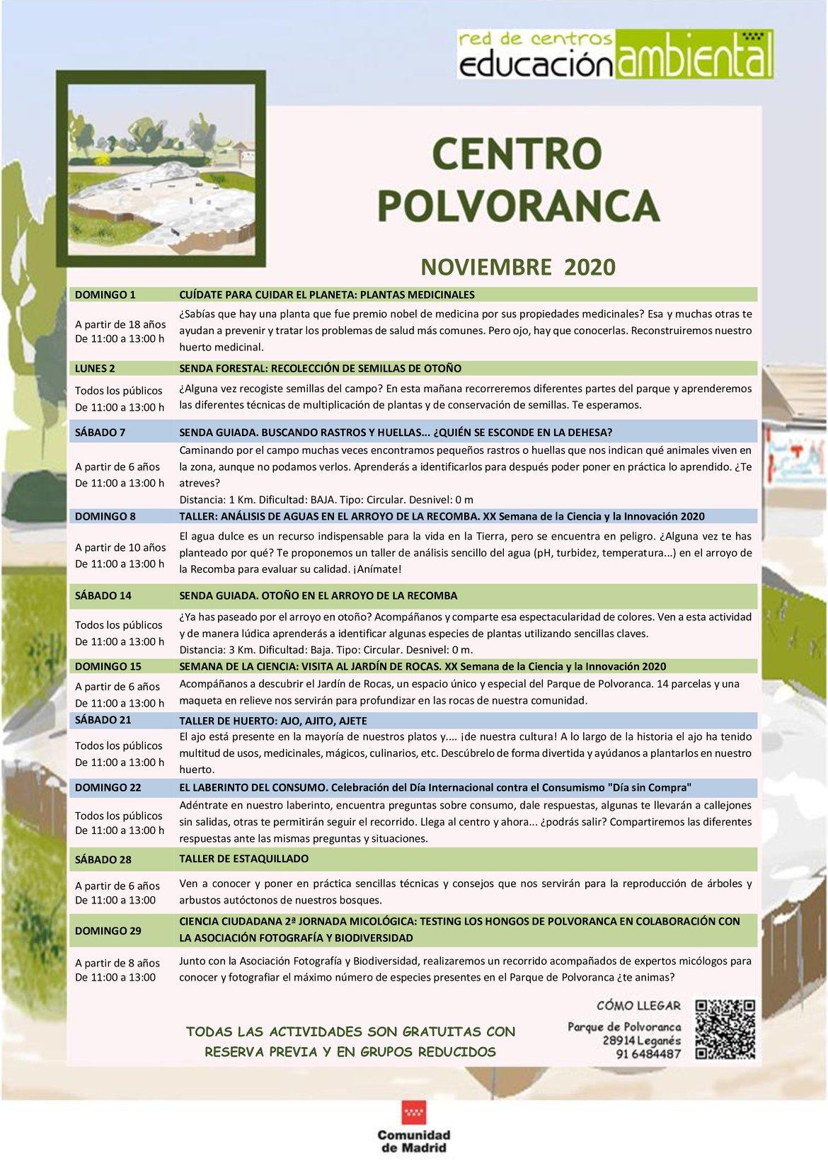 Programación en noviembre 2020 en el CEA Polvoranca y en Bosque Sur