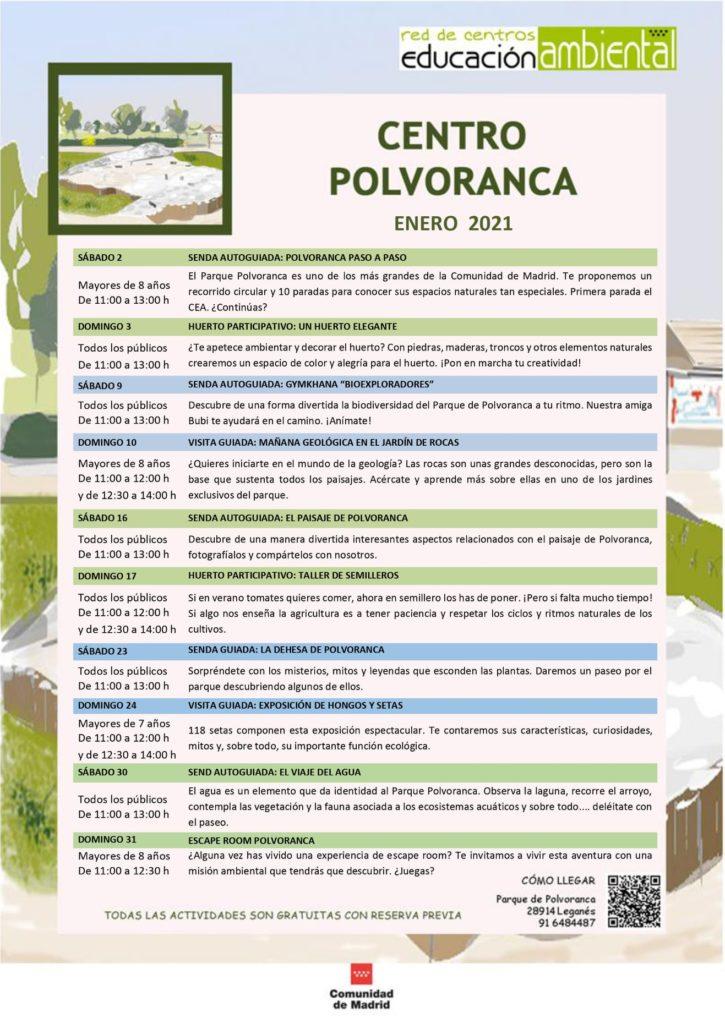 Programación en diciembre 2020 en el CEA Polvoranca y en Bosque Sur
