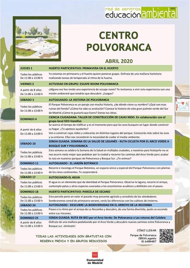 Programación en abril 2021 en el CEA Polvoranca