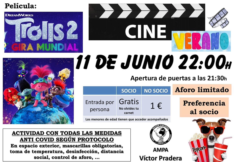 Cine de verano en el AMPA del Víctor Pradera con Trolls 2