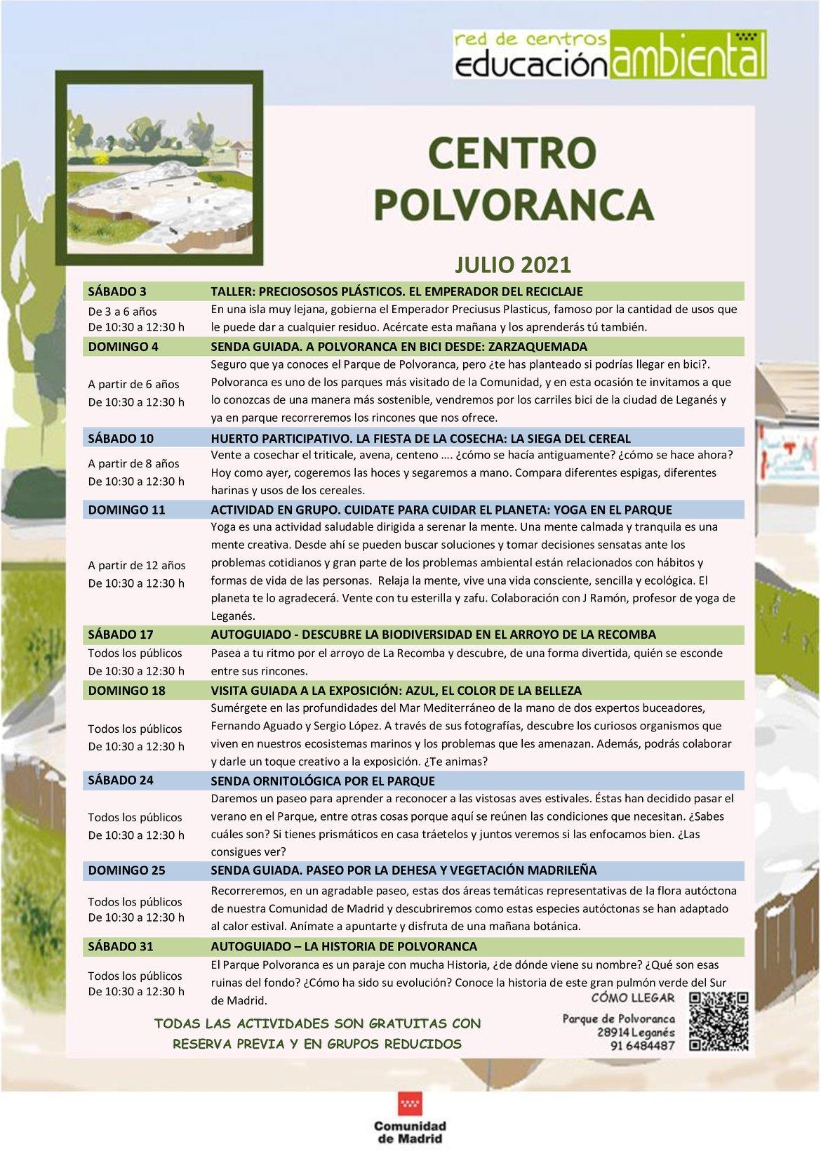 Programación en julio 2021 en el CEA Polvoranca