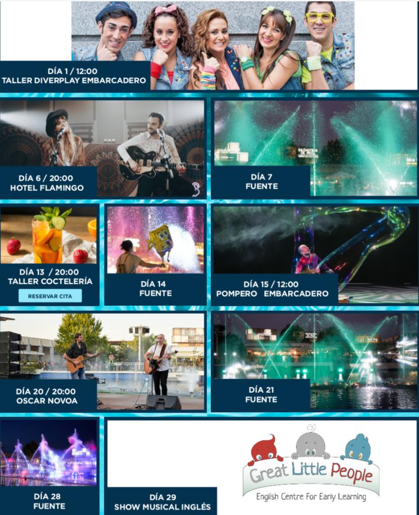 Calendario de actividades en ParqueSur mes de agosto