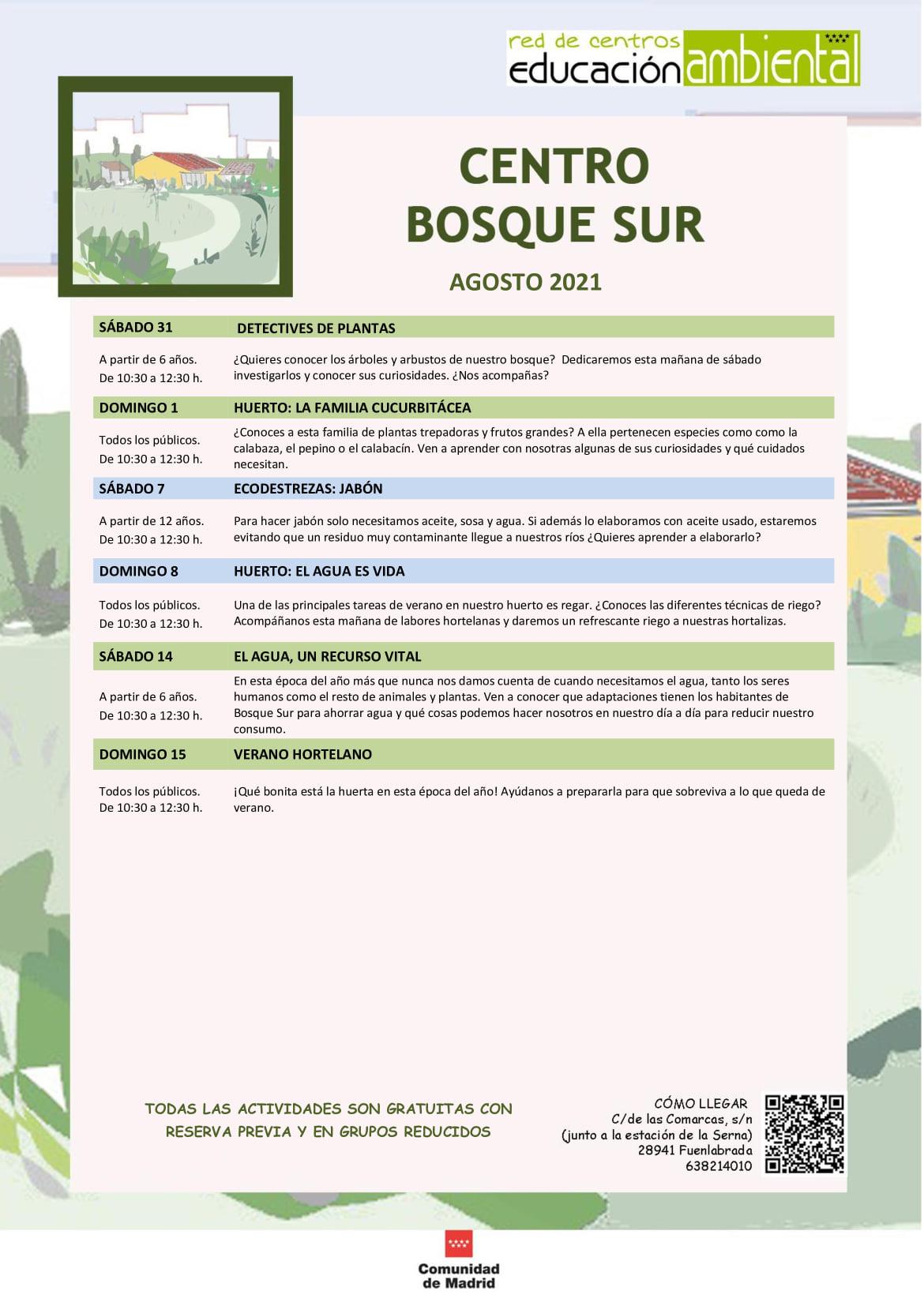 Programación en agosto 2021 en el CEA Polvoranca y Bosque Sur