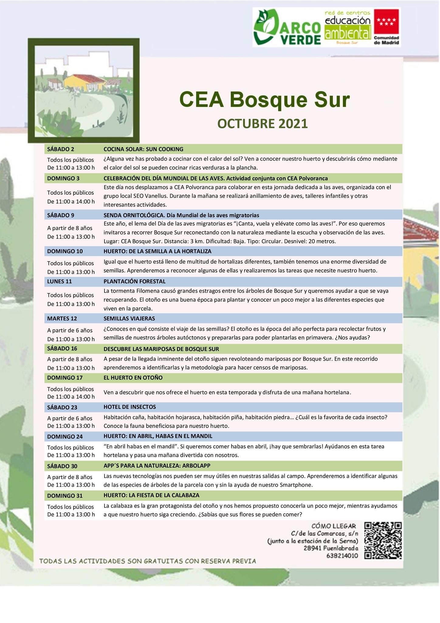 Programación de octubre 2021 en el CEA Bosque Sur
