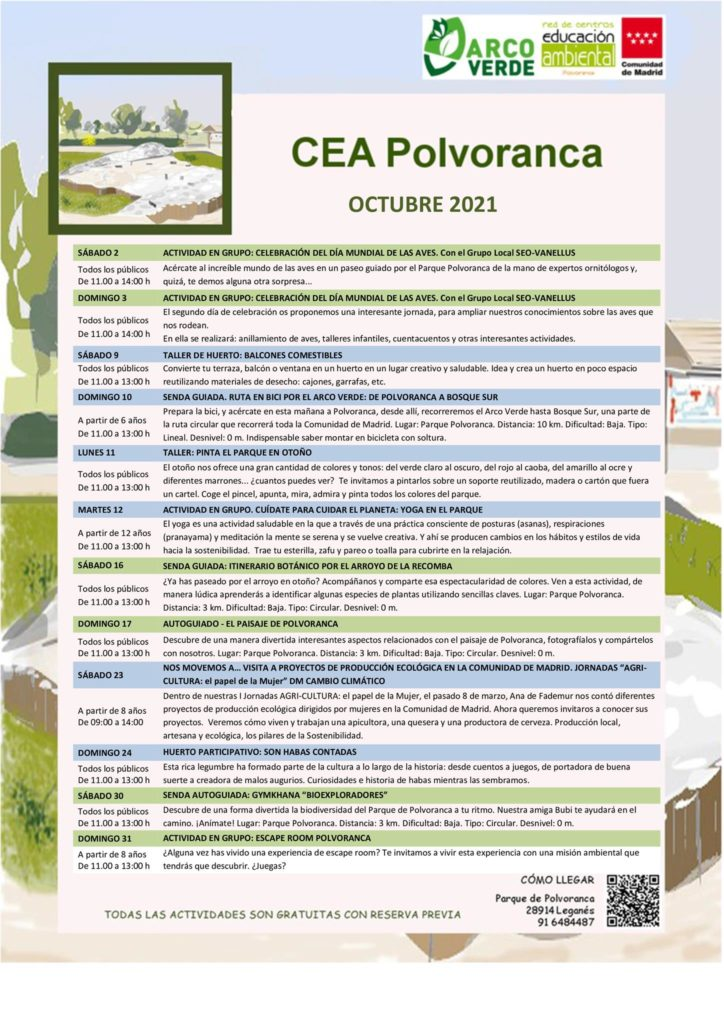 Programación de octubre 2021 en el CEA Polvoranca
