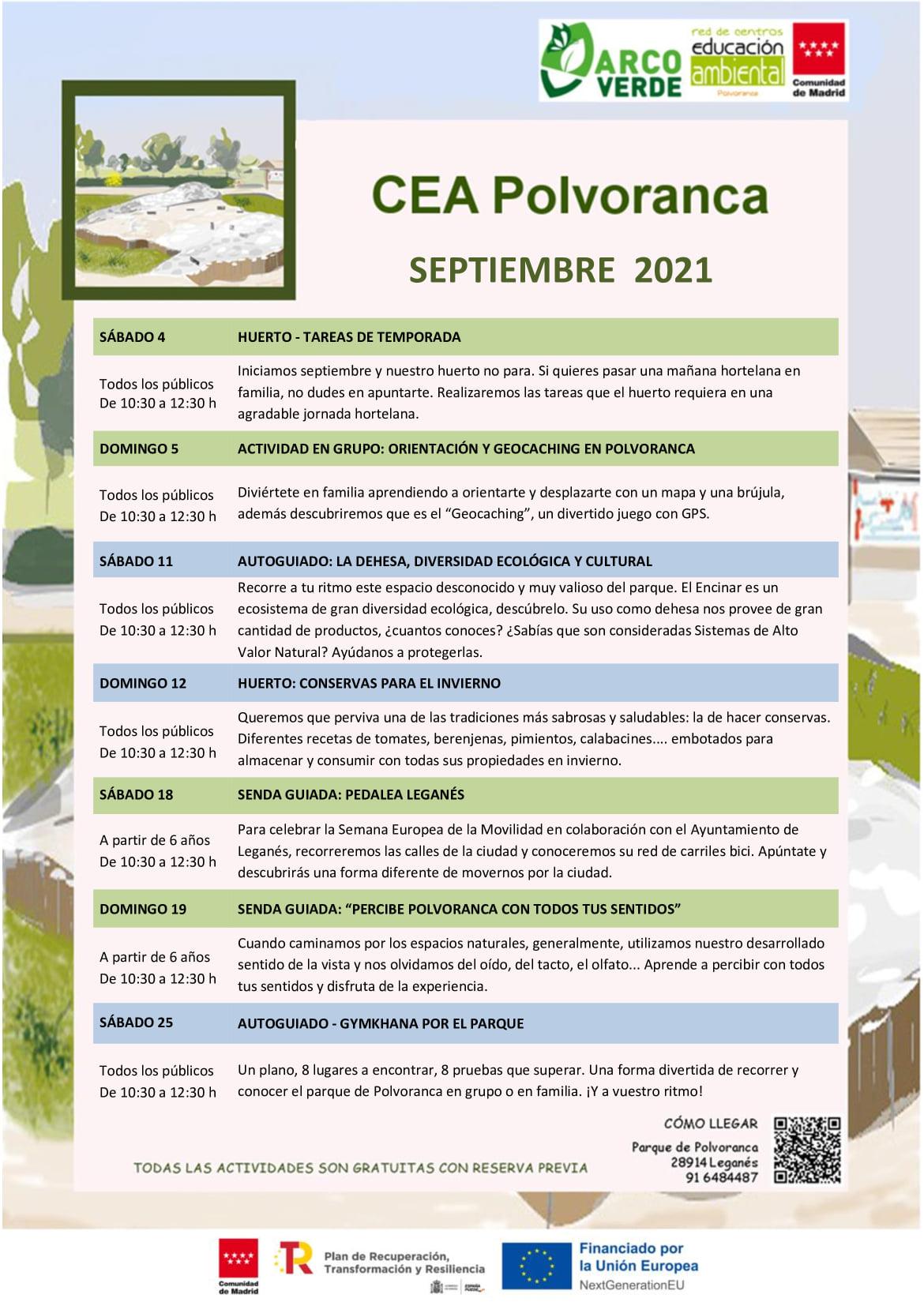 Programación en septiembre 2021 en el CEA Polvoranca y en Bosque Sur