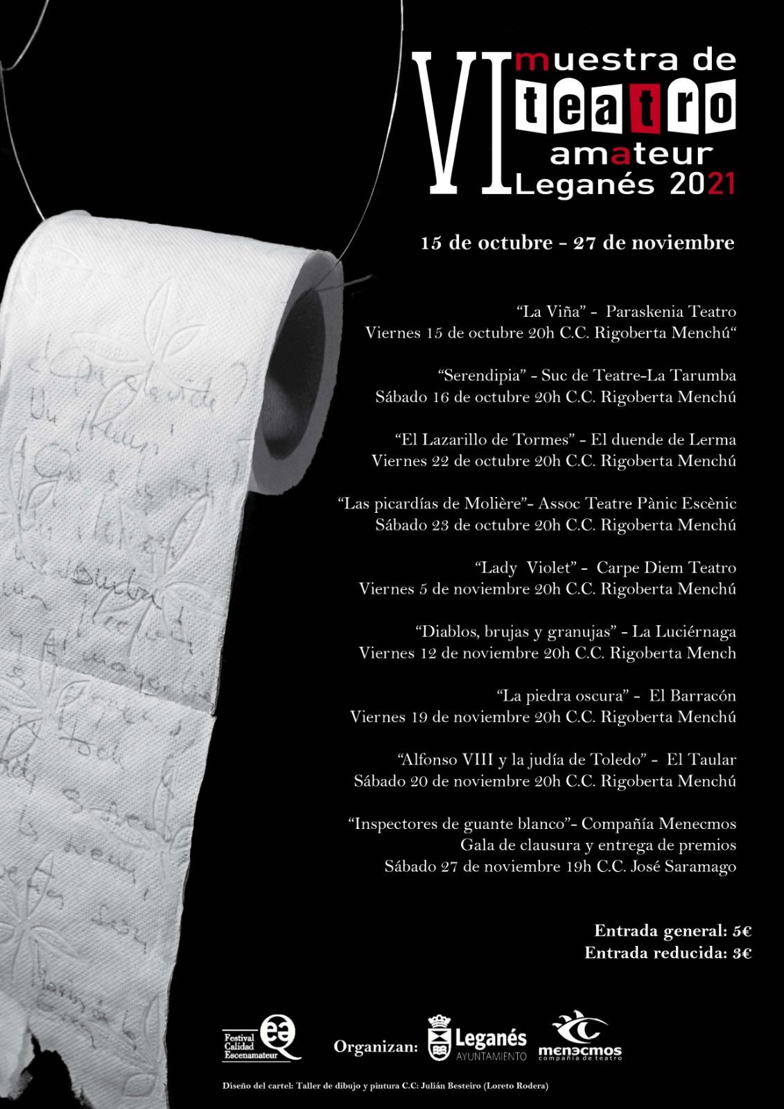 VI Muestra de teatro amateur de Leganés fechas de representación